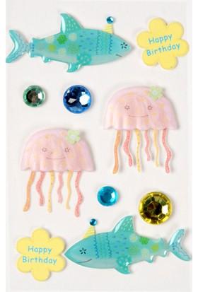 Coccomell El Yapımı Dekor Sticker Taşlı Okyanus