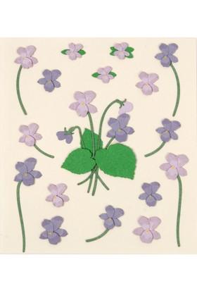 Coccomell El Yapımı Dekor Sticker Çiçek Lila Buket