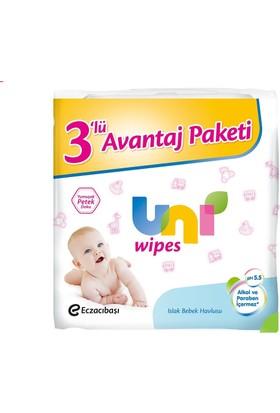 Uni Wipes Islak Bebek Havlusu 3'lü Fırsat Paketi - 192 Yaprak