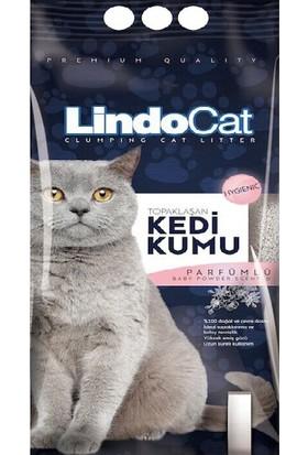 LindoCat Parfümlü Topaklaşan İnce Taneli Kedi Kumu 5 lt ( 4 Adet )