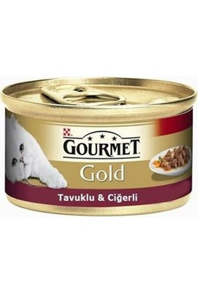 Purina Gourmet Gold Parça Etli Soslu Tavuklu ve Ciğerli Kedi Konserve Mama 85 gr