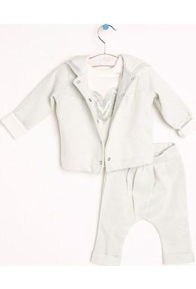 Baby Corner Simli Kapüşonlu Hırka Sweatshirt Patiksiz Alt