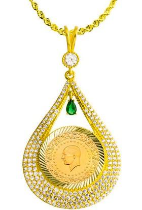 Bilezikci Çeyrek Altınlı + Yeşil Çerçeveli + Altın Zincirli Kolye
