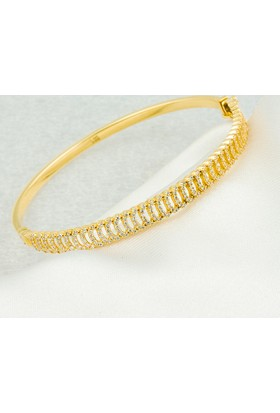 Favori Gold Taşlı İtalyan 14 Ayar Altın Bilezik