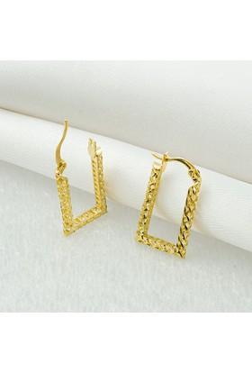 Favori Gold Köşeli 14 Ayar Altın Taşsız Küpe