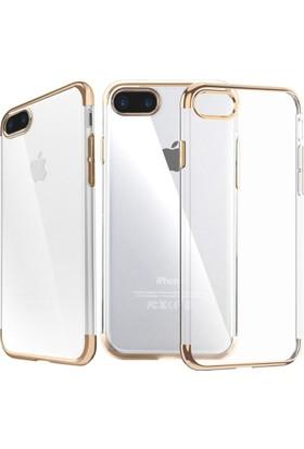 Eiroo Apple iPhone 7 Plus Gold Çerçeveli Şeffaf Silikon Kılıf