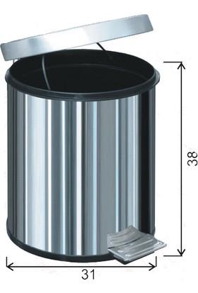 Arı Metal Paslanmaz Pedallı Çöp Kovası 20 Litre 1014