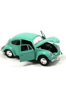 1967 Volkswagen Klasik Beetle Metal Çek Bırak Model Araba Yeşil 13 Cm Tevulimma024