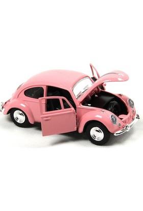 1967 Volkswagen Klasik Beetle Metal Çek Bırak Model Araba Pembe 13 Cm Tevulimma027