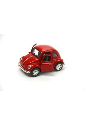 1967 Volkswagen Klasik Beetle Metal Çek Bırak Model Araba Kırmızı 9 Cm Tevulimma028