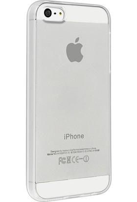 Case 4u Apple iPhone 5/5S/SE Silikon Kılıf Şeffaf + Cam Ekran Koruyucu