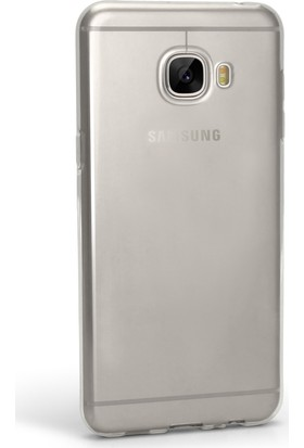 Case 4u Samsung Galaxy C5 Silikon Kılıf Şeffaf + Cam Ekran Koruyucu