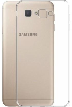Case 4u Samsung Galaxy J7 Prime Silikon Kılıf Şeffaf + Cam Ekran Koruyucu