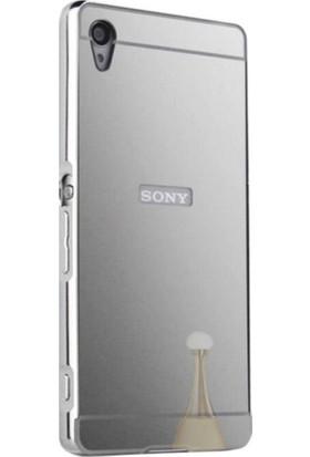 Case 4U Sony Xperia Z5 Premium Aynalı Bumper Kapak Gümüş + Cam Ekran Koruyucu