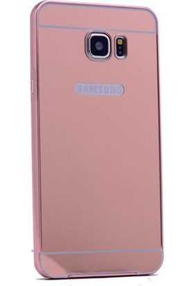 Case 4u Samsung Galaxy J5 Prime Metal Kenarlı Aynalı Kapak Rose Gold