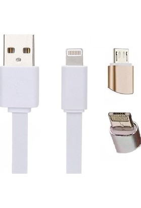 Case 4u 2 in 1 Lightning Micro Dual USB Kablo ( iPhone ve Samsung)