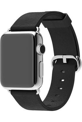Case 4U Apple Watch 38 mm Klasik Tokalı Siyah Kayış