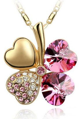 Bohem Store Swarovski Crystal Taşlı Gold Rose Yonca Kolye