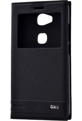 Case 4U Huawei Gr5 Pencereli Kapaklı Kılıf Siyah