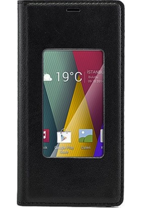Case 4U General Mobile Discovery 2 Mini Pencereli Flip Cover Siyah