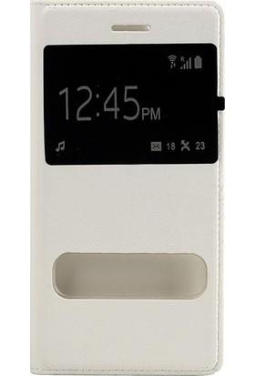 Case 4U Sony Xperia Z3 Pencereli Flip Cover Beyaz