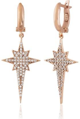 Lio Jewels 925 Ayar Altın Kaplama Gümüş Kutup Yıldızı Beyaz Taşlı Küpe