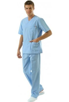 Tipmod Doktor Hemşire Üniforması Nöbet Takımı Erkek 228 Açık Mavi