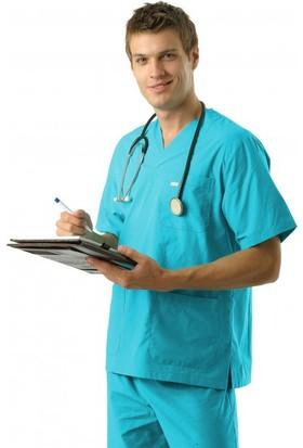 Tipmod Doktor Hemşire Üniforması Nöbet Takımı Erkek 228 Turkuaz Mavi