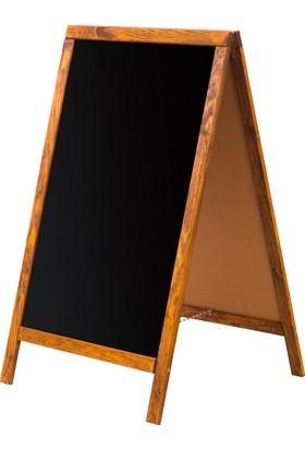 Penguen 60 cm x 90 cm Çatı Tipi Çift Yüzlü Menü Tahtası Kara Tahta (Tebeşir Tahtası)