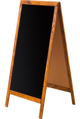 Penguen 60 cm x 110 cm Çatı Tipi Çift Yüzlü Menü Tahtası Kara Tahta (Tebeşir Tahtası)
