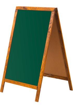Penguen 45 cm x 90 cm Çatı Tipi Çift Yüzlü Menü Tahtası Yeşil Tahta (Tebeşir Tahtası)