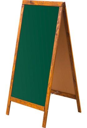 Penguen 45 cm x 110 cm Çatı Tipi Çift Yüzlü Menü Tahtası Yeşil Tahta (Tebeşir Tahtası)