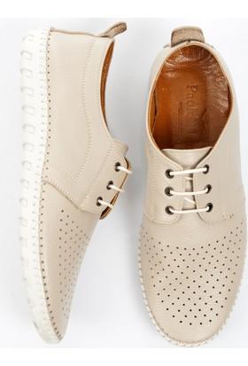 DeepSEA Bej Önü Delikli Bağcıklı Deri Çarık Erkek Ayakkabı 1701011-021