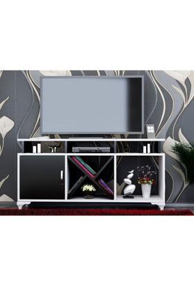 BMdekor Kamer Tv Ünitesi Beyaz Siyah