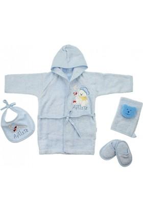 Modakids Erkek Bebek Tavşan Nakışlı Bornoz Seti 051 - 46158 - 015