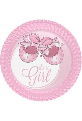 Beysüs Baby Shower İt's A Girl Pembe Kağıt Tabak 23 Cm