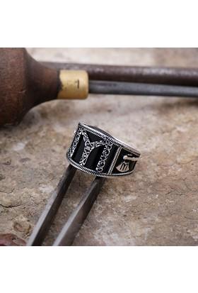 Sümer Telkari Kayı Boyu Oniks Taşlı Gümüş Erkek Yüzük 814