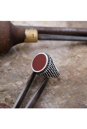 Sümer Telkari Akik Taşlı Tasarım Gümüş Erkek Yüzük 849