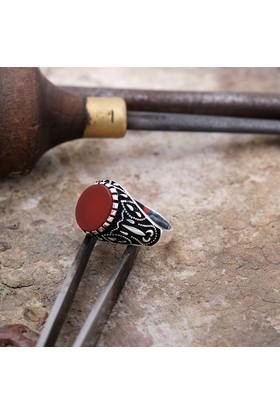 Sümer Telkari Akik Taşlı Gümüş Kalem İşi Erkek Yüzük 872