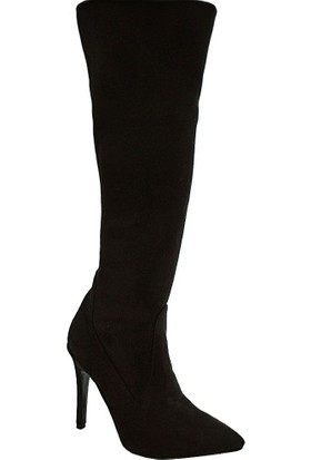Chıcca Mag 110 Diz Üstü Kadın Çizme Siyah Suet