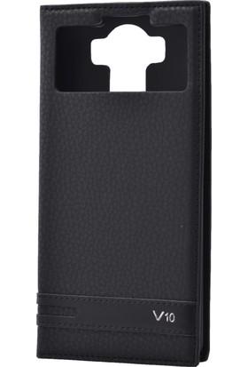 Case 4U LG V10 Pencereli Mıknatıslı Kapaklı Kılıf Siyah