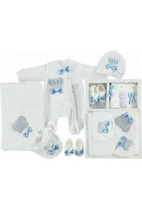 Ponpon Baby Taş İşlemeli 5'li Hastane Çıkış Seti Mavi Renkli