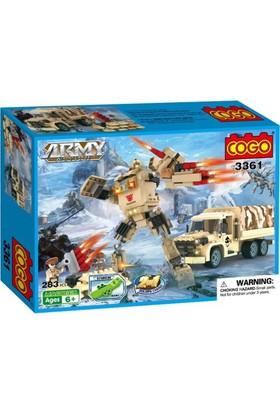 Cogo Lego Asker Seti Robot Olan Kamyonu İle Kar Operasyonu 283 Parça