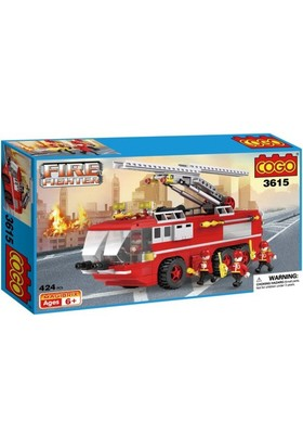 Cogo Lego İtfaiye Seti Merdivenli İtfaiye Kamyonu 424 Parça