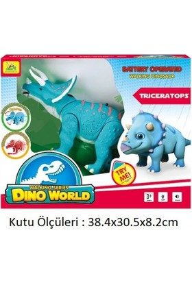 Dino World Pilli Yürüyen Kükreyen Dinazor Triceratops (Mavi)