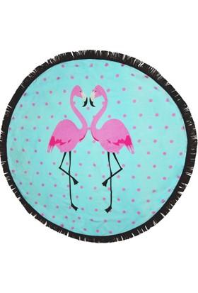 Just Bohem Flamingo Yuvarlak Plaj Havlusu