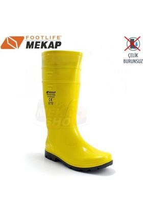 Mekap 501 Sarı Çelik Burunsuz Uzun İşçi Çizmes
