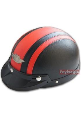 Yohe Deri Nazi Kaskı (Siyah Kırmızı)