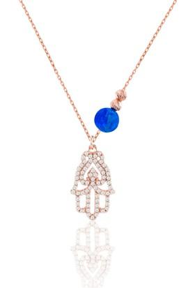 Azuris 925 Ayar Gümüş Opal Taşlı Fatma Eli Kolye