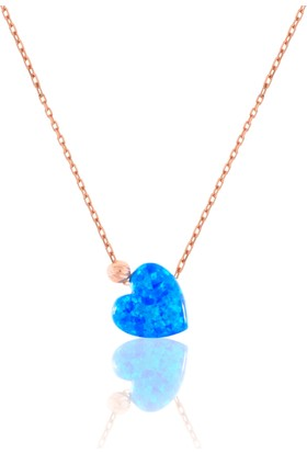 Azuris 925 Ayar Gümüş Opal Taşlı Kalp Kolye